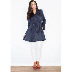 Płaszcze damskie pastelowe: Granatowy Dwurzędowy Klasyczny Jesienny Płaszcz Typu Trencz