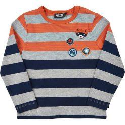 Koszulka w kolorze szaro-niebieskim. Niebieskie t-shirty chłopięce z długim rękawem MeToo, z aplikacjami. W wyprzedaży za 47,95 zł.