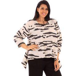 T-shirty damskie: Lniana koszulka w kolorze beżowo-antracytowym