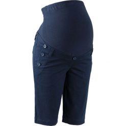 Szorty ciążowe z guzikami bonprix ciemnoniebieski. Niebieskie spodnie ciążowe marki bonprix, w paski, z dżerseju. Za 99,99 zł.