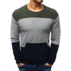 Swetry klasyczne męskie: Sweter męski z kieszenią granatowo-szary (wx1034)