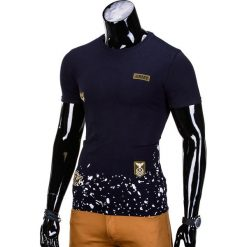 T-SHIRT MĘSKI Z NADRUKIEM S841 - GRANATOWY. Niebieskie t-shirty męskie z nadrukiem Ombre Clothing, m. Za 29,00 zł.