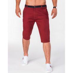 KRÓTKIE SPODENKI MĘSKIE BERMUDY P402 - BORDOWE. Czerwone bermudy męskie Ombre Clothing, z bawełny. Za 47,20 zł.