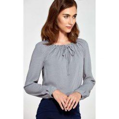 Szara Bluzka Marszczona przy Dekolcie. Szare bluzki longsleeves Molly.pl, l, z jeansu, eleganckie. W wyprzedaży za 102,21 zł.