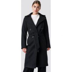 Rut&Circle Długi płaszcz Tove - Black. Czarne płaszcze damskie Rut&Circle, w paski. Za 364,95 zł.