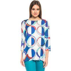 Bluzki asymetryczne: Luźna wzorzysta bluzka z rękawem 3/4 BIALCON