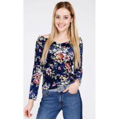Bluzka - 46-1249 BLU. Niebieskie bluzki asymetryczne Unisono, l, w kwiaty, z elastanu. Za 39,00 zł.