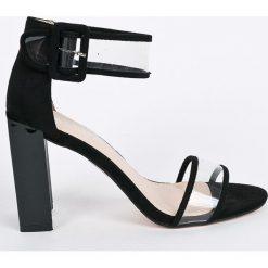 Public Desire - Sandały. Czarne sandały damskie marki Public Desire, z materiału, na obcasie. W wyprzedaży za 99,90 zł.