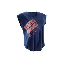 Koszulka fitness kardio krótki rękaw 120 damska. Niebieskie bluzki sportowe damskie marki DOMYOS, z elastanu. W wyprzedaży za 24,99 zł.