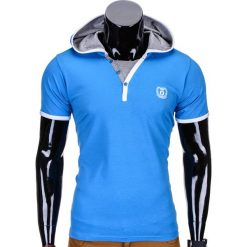 T-SHIRT MĘSKI Z KAPTUREM BEZ NADRUKU S682 - NIEBIESKI. Niebieskie t-shirty męskie z nadrukiem Ombre Clothing, m, z kapturem. Za 25,00 zł.