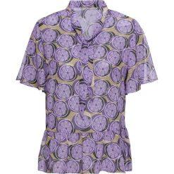 Bluzki damskie: Bluzka z krawatką bonprix lila z nadrukiem