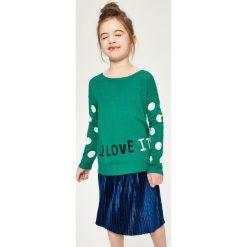 Swetry damskie: Sweter z żakardowymi rękawami – Zielony
