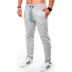 SPODNIE MĘSKIE DRESOWE P550 - SZARE. Szare spodnie dresowe męskie Ombre Clothing, z bawełny. Za 54,00 zł.