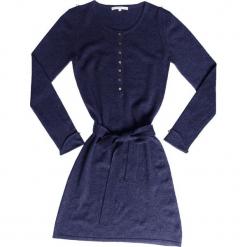 Sukienka kaszmirowa w kolorze granatowym. Niebieskie sukienki na komunię Ateliers de la Maille, na imprezę, z kaszmiru, z okrągłym kołnierzem, midi. W wyprzedaży za 545,95 zł.