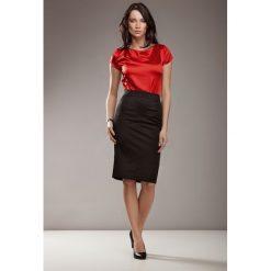 Bluzki damskie: Czerwona Elegancka Bluzka z Satyny