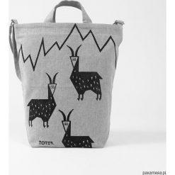 Ekologiczna torba z kozami. Szare torby na ramię męskie marki Pakamera, z tkaniny, duże. Za 89,00 zł.