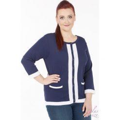 Swetry rozpinane damskie: Sweter z lamówką i guziczkami Plus