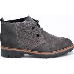 Marco Tozzi - Botki. Szare buty zimowe damskie marki Marco Tozzi, z materiału, z okrągłym noskiem, na obcasie, na sznurówki. W wyprzedaży za 139,90 zł.
