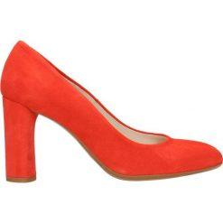 Czółenka IZO. Czerwone buty ślubne damskie marki Gino Rossi, ze skóry, na wysokim obcasie, na słupku. Za 199,90 zł.