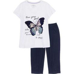 Piżamy damskie: Piżama ze spodniami 3/4 bonprix biało-ciemnoniebieski z nadrukiem