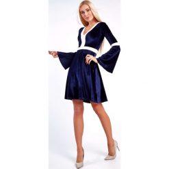 Sukienka welurowa z rozszerzanymi rękawami granatowa 1600. Szare sukienki Fasardi, l, z weluru. Za 59,00 zł.