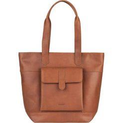 Shopper bag damskie: Skórzany shopper bag w kolorze szarobrązowym – 42 x 34 x 11 cm