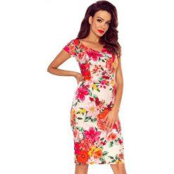Vanda sukienka dzienna kwiaty na różu. Czerwone sukienki hiszpanki Bergamo, do pracy, w kwiaty, z materiału, biznesowe, midi. Za 221,99 zł.