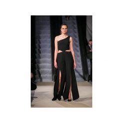 Kombinezon czarny z rozcięciami. Czarne kombinezony damskie Nat fashion room, z materiału, długie. Za 690,00 zł.