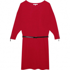 Sukienka kaszmirowa w kolorze bordowym. Czerwone sukienki na komunię Ateliers de la Maille, na imprezę, w paski, z kaszmiru, z okrągłym kołnierzem, midi. W wyprzedaży za 591,95 zł.
