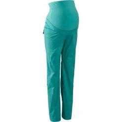 Spodnie ciążowe, proste nogawki z wywinięciem bonprix zielony oceaniczny. Niebieskie spodnie ciążowe marki bonprix, w paski, z dżerseju. Za 109,99 zł.