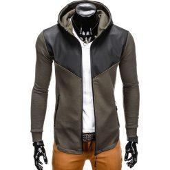 Bluzy męskie: BLUZA MĘSKA ROZPINANA Z KAPTUREM B767- KHAKI