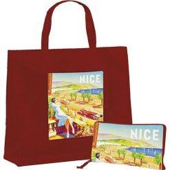 """Torba """"Nice"""" w kolorze czerwonym na zakupy - 46 x 40 x 19 cm. Czerwone torebki klasyczne damskie Éditions Clouet, z nadrukiem, z tworzywa sztucznego, z nadrukiem. W wyprzedaży za 24,95 zł."""