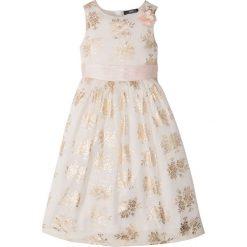 Sukienki dziewczęce w kwiaty: Sukienka na uroczyste okazje bonprix ecru-złoty z nadrukiem