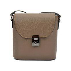 Torebki klasyczne damskie: Skórzana torebka w kolorze ciemnobeżowym – (S)21 x (W)22 x (G)7,5 cm