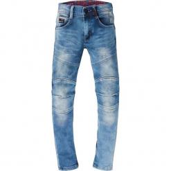 Dżinsy w kolorze niebieskim. Niebieskie spodnie chłopięce marki Retour Denim de Luxe, z aplikacjami, ze skóry. W wyprzedaży za 115,95 zł.