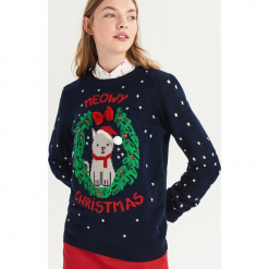 Świąteczny sweter z kokardką - Granatowy. Niebieskie swetry klasyczne damskie Sinsay, l, z kokardą. Za 59,99 zł.