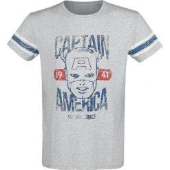 Captain America Marvel Comics 1941 T-Shirt odcienie jasnoszarego. Szare t-shirty męskie z nadrukiem Captain America, m, z klasycznym kołnierzykiem. Za 74,90 zł.