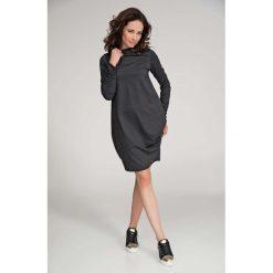 Grafitowa Sukienka Bombka Midi  z Rękawem. Czarne sukienki dresowe marki bonprix, w paski, z dekoltem woda. Za 108,90 zł.