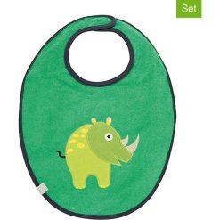 """Śliniaki: Ślinaczki (2 szt.) """"Rhino"""" w kolorze zielonym – 39 x 29 cm"""