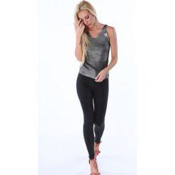 Bluzki damskie: Bluzka na ramiączka metalizowana czarna 3700