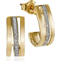 Kolczyki damskie: RABAT Kolczyki Złote – złoto żółte 585, Brylant 0,11ct