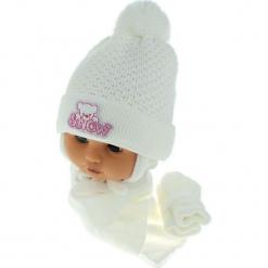 Czapka niemowlęca z szalikiem i rękawiczkami CZ+S+R 011E. Szare czapeczki niemowlęce Proman. Za 45,90 zł.