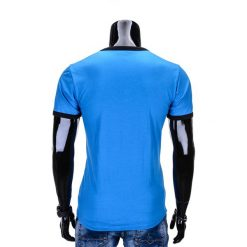 T-shirty męskie: T-SHIRT MĘSKI BEZ NADRUKU S651 – BŁĘKITNY