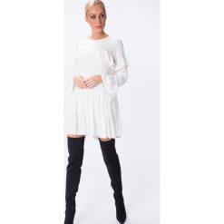 Sukienki: Sukienka z falbankami kremowa 6555