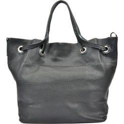 Shopper bag damskie: Skórzana torebka w kolorze czarnym – (S)33,5 x (W)35 x (G)17 cm