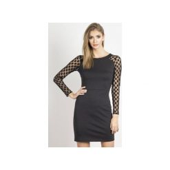 Sukienka Mona. Czarne długie sukienki marki Wow fashion, w geometryczne wzory, z dzianiny, eleganckie, z długim rękawem, dopasowane. Za 299,00 zł.