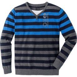 Sweter Regular Fit bonprix szary melanż - lodowy niebieski w paski. Szare swetry klasyczne męskie marki bonprix, l, melanż, z podwójnym kołnierzykiem. Za 89,99 zł.