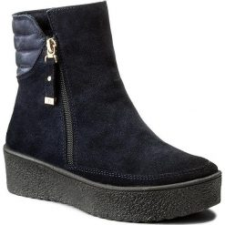 Botki EVA MINGE - Tere 2F 17SM1372214E 807. Niebieskie buty zimowe damskie marki Eva Minge, z nubiku. W wyprzedaży za 239,00 zł.