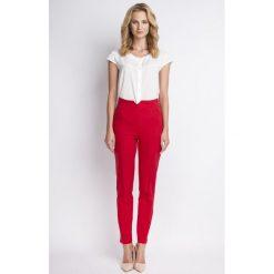Spodnie z wysokim stanem: Klasyczne Czerwone Spodnie w Kant z Wysokim Stanem