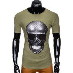 T-SHIRT MĘSKI Z NADRUKIEM S999 - KHAKI. Czarne t-shirty męskie z nadrukiem marki Ombre Clothing, m, z bawełny, z kapturem. Za 29,00 zł.